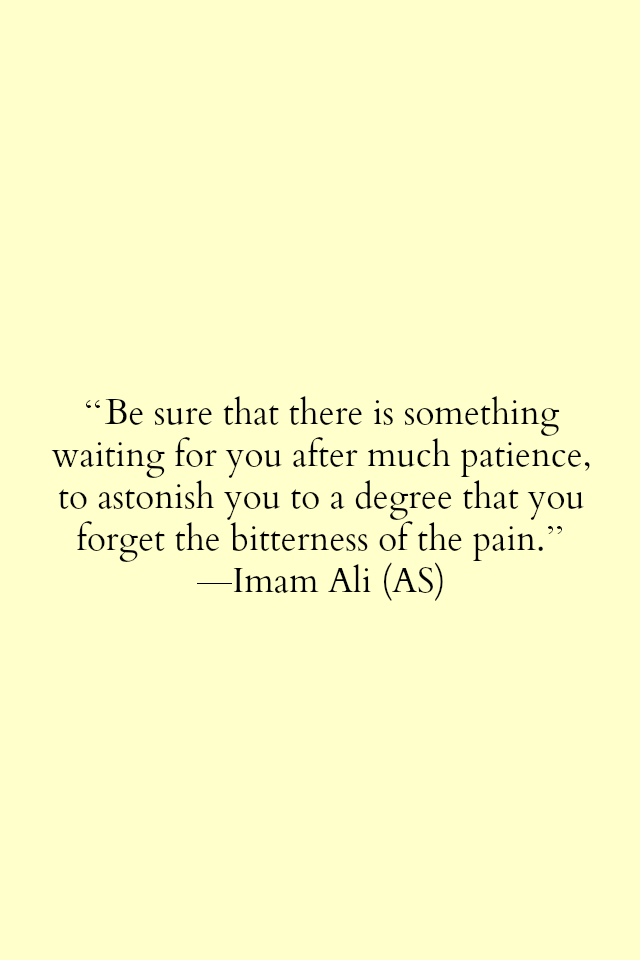 Be sure that there is something waiting for you after much patience, to astonish you to a degree that you forget the bitterness of the pain.