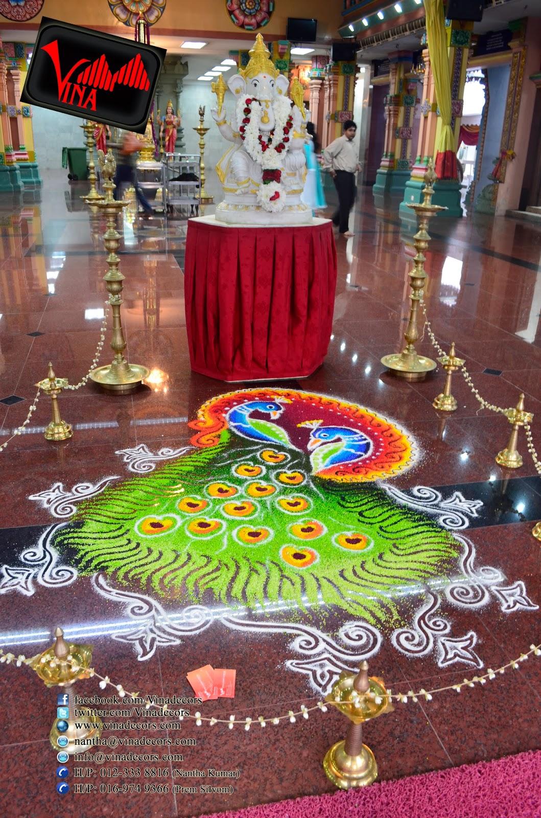 Sunrise Wedding at Sri Maha Mariamman Temple, Kuala Kumpur on 08/02/2014 (Manavarai / Mandap Setting with fresh flowers and Kolam Setting by Vina Canopy & Decor