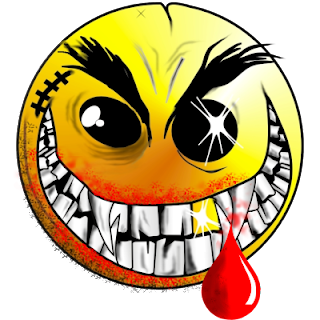 killer smiley face with scars and dripping blood