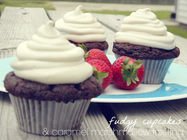 Fudgy Cupcakes with Caramel Marshmallow Frosting