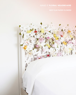 designlovefest DIY west elm floral headboard