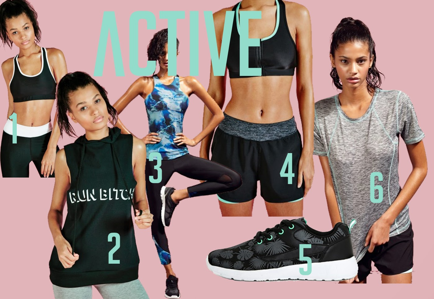 Missguided-sports-collage-active-clothing-shorts-mint-green-blue-black-white-monochrome