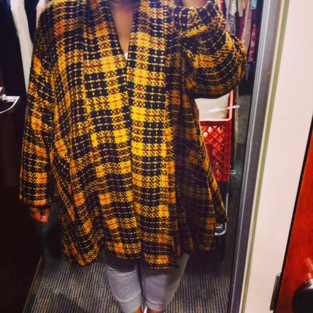 vintage coat, swing coat, plaid, tartan coat, vintage tartan coat, salvation army, thrifting