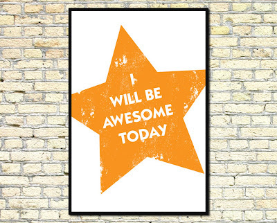 orange star illustration with i will be awesome today