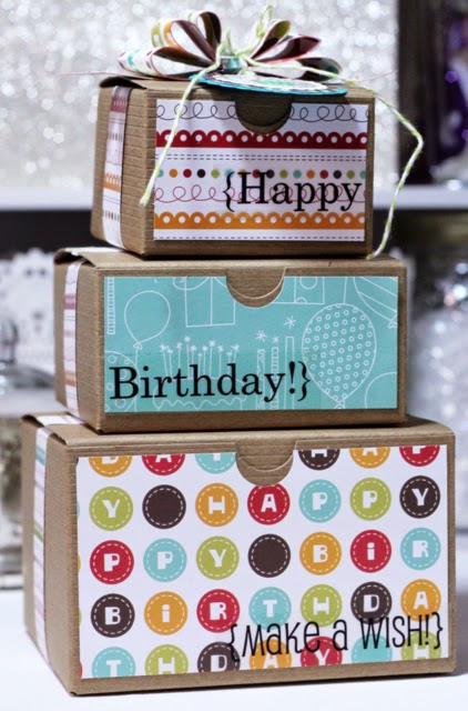 SRM Stickers Blog - Birthday Kraft Boxes by Shantaie - #birthday #kraftboxes #stickers #twine #punchedpieces