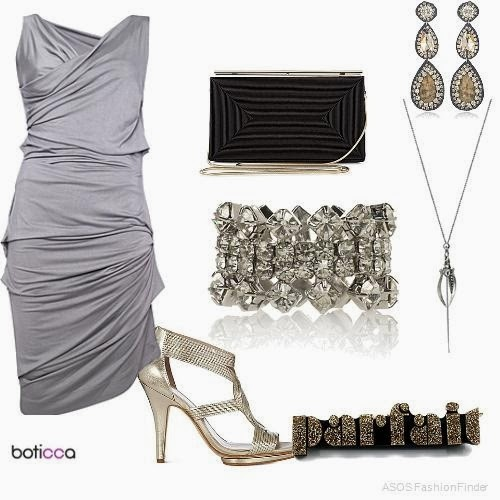 Grey dress, handbag, high heels and other accessories for weddings and parties