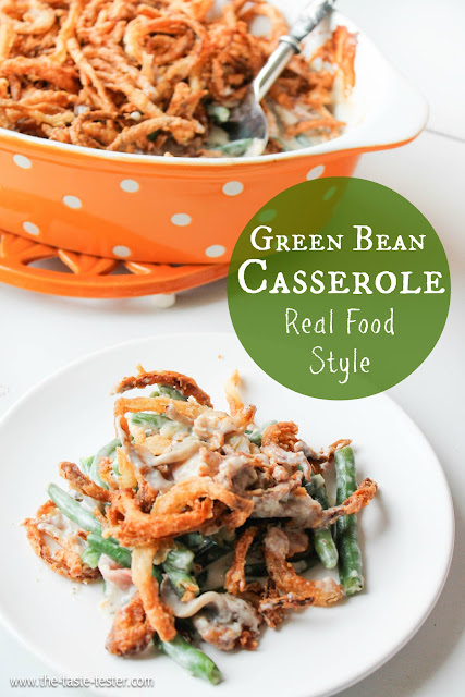 Green Bean Casserole made completely from scratch, the perfect side dish for your Thanksgiving table. www.the-taste-tester.com