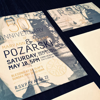 GotPrint modern anniversary invitations or postcards