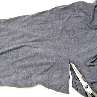 Cutting recycled t-shirts to size