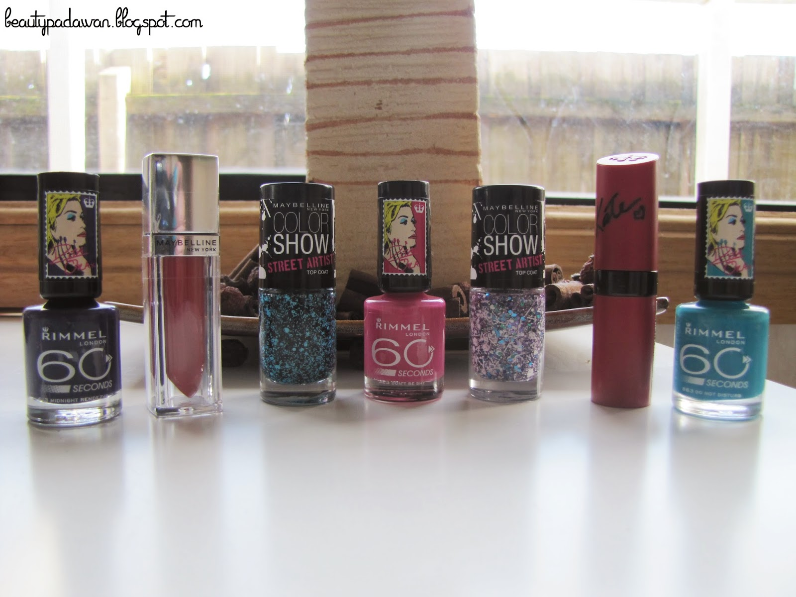 Rimmel London Rita Ora nail polishes, Maybelline Color Sensational The Elixir gloss, Maybelline Color Show nail polishes, Rimmel London Lasting Finish Matte by Kate lipstick