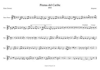 Partitura de Piratas del Caribe para Saxofón Tenor. La partitura de Piratas del Caribe también sirve para Saxo Soprano (sheet music Pirates of the Caribbean Tenor Saxophone Score). Para tocar con el primer vídeo (a la vez, suena igual).