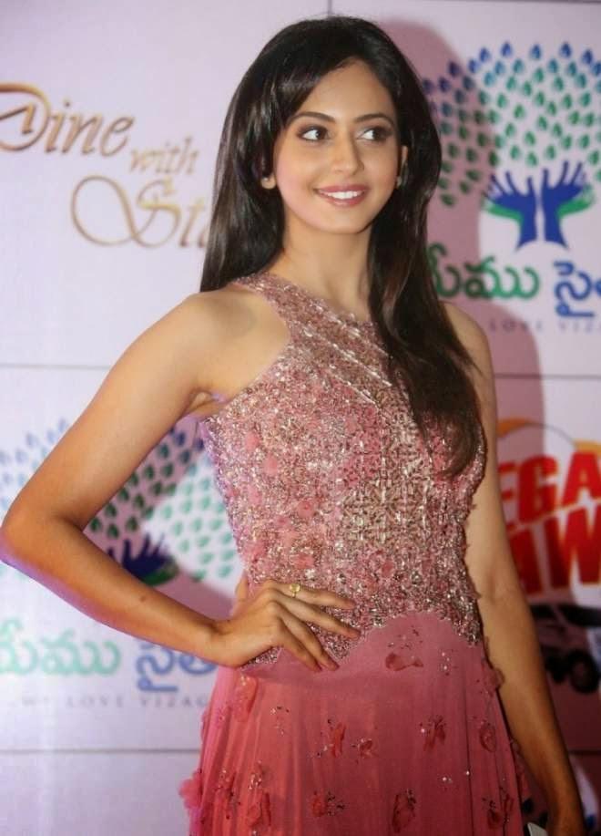 Rakul Preet Singh Hot Wallpapers in Pink Sleeveless Long Length Gowns