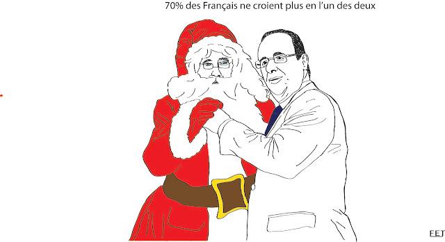 François hollande avec le Père Noel, face aux sondages
