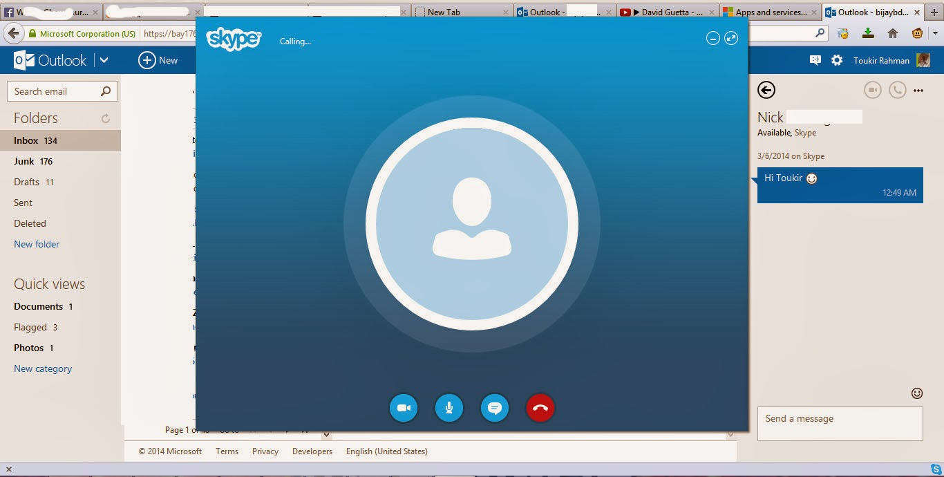 Skype on web browser for voice and video calls