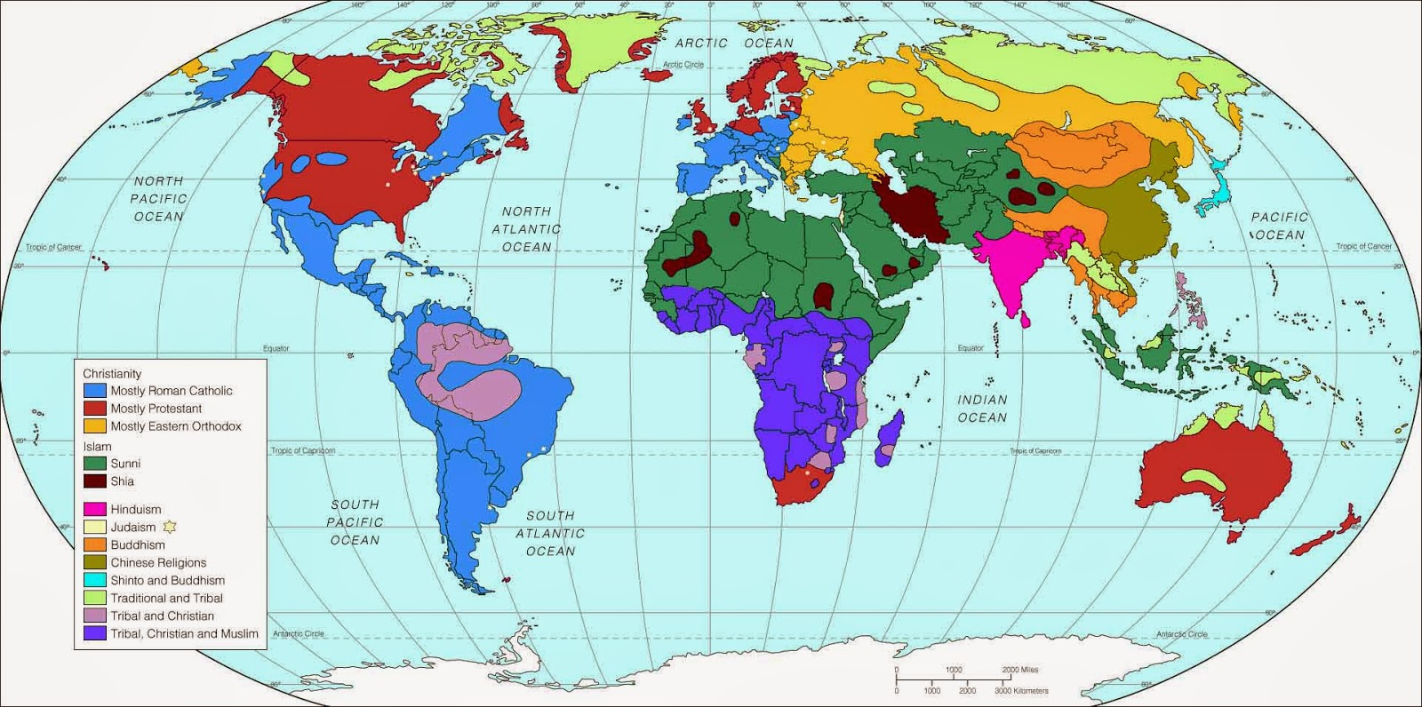 宗教分布マップ 世界地図 キリスト教 イスラム教 仏教