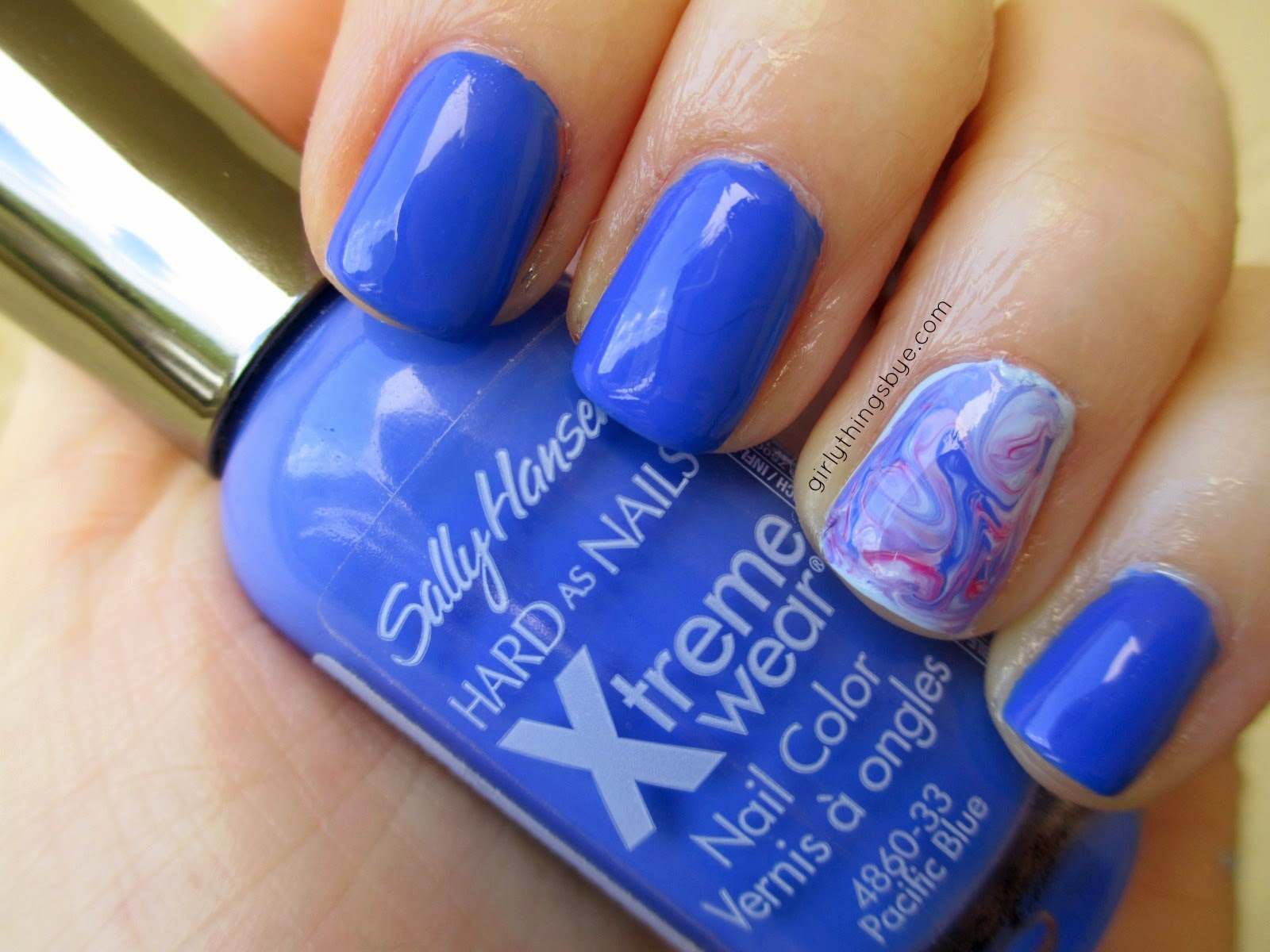 Sally Hansen Pacific Blue, swatch, nail polish, marble nails