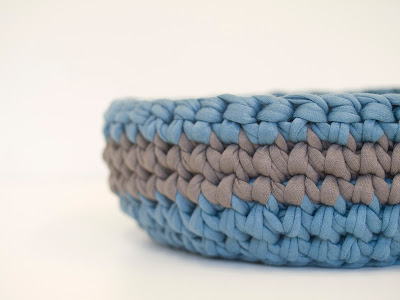 Teal Grey Crochet bowl 02 by welaughindoors