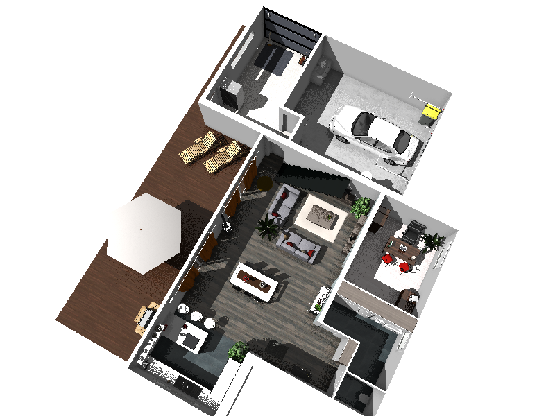 Plan de maison moderne 3d for Plan 3d de maison
