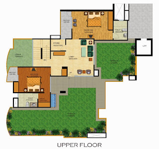Emerald Court :: Floor Plans,Emperor Penthouse - Type A:-Upper Floor4 Bedrooms, 5 Toilets, Kitchen, Dining, Drawing, 4 Balconies, Servant Room With Toilet, Terrace Garden with Water Feature Area - 3250 Sq. Ft. 896 Sq. Ft. Terrace Area