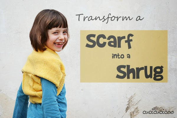 Scarf to cozy reversible shrug refashion