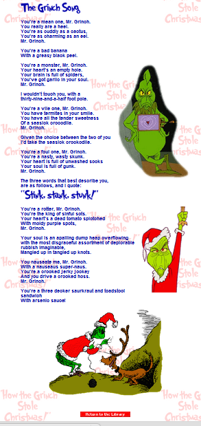 Grinch Song Song With Song New Calendar Template Site