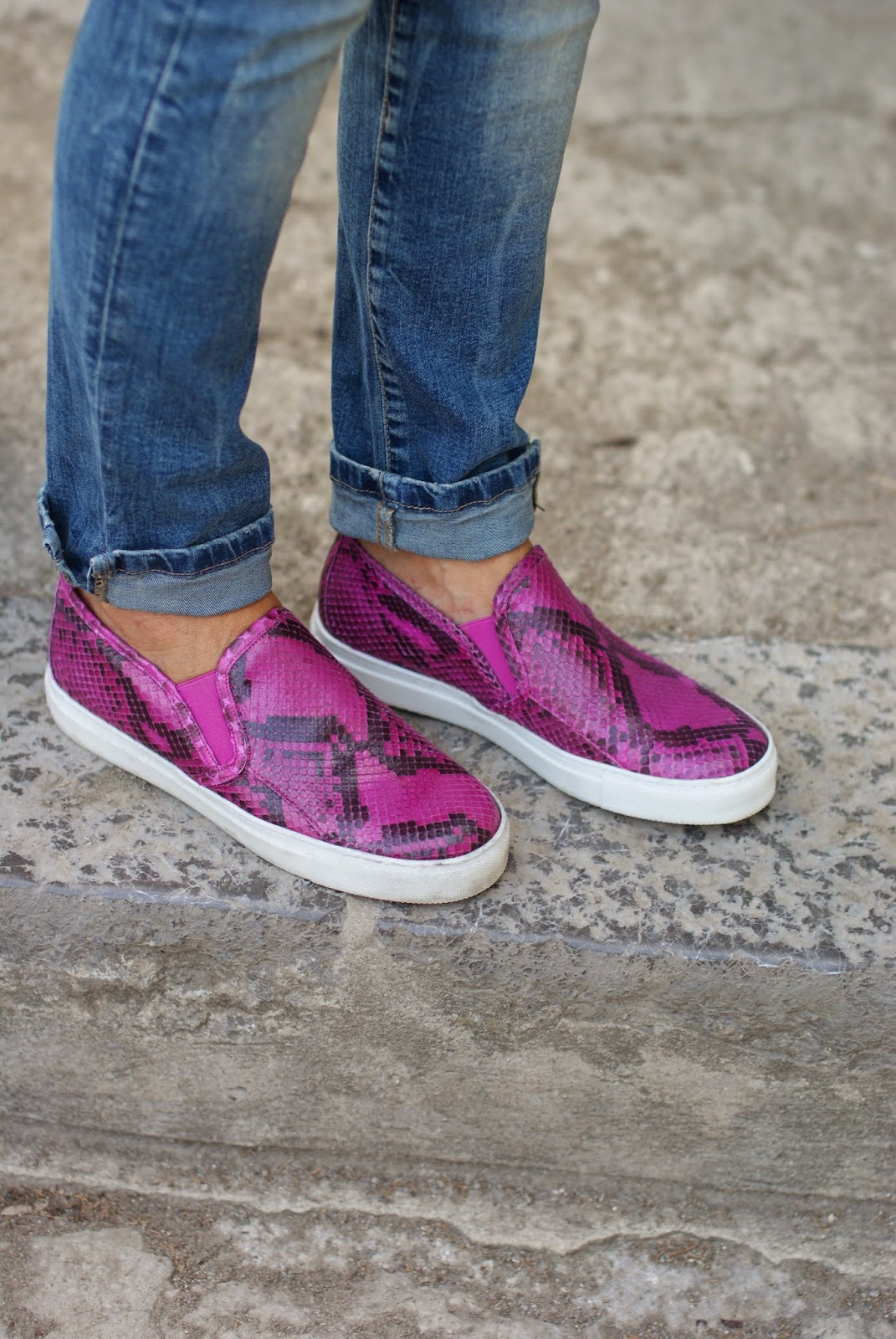 Roberto Botticelli python fuchsia slip-on shoes, Fashion and Cookies, fashion blogger