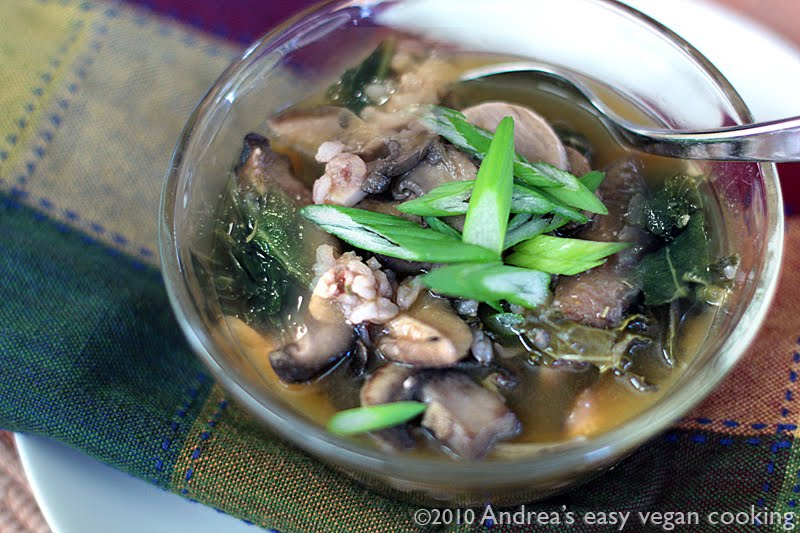 Mushroom, kale and garlic soup adapted from Vegetarian Times