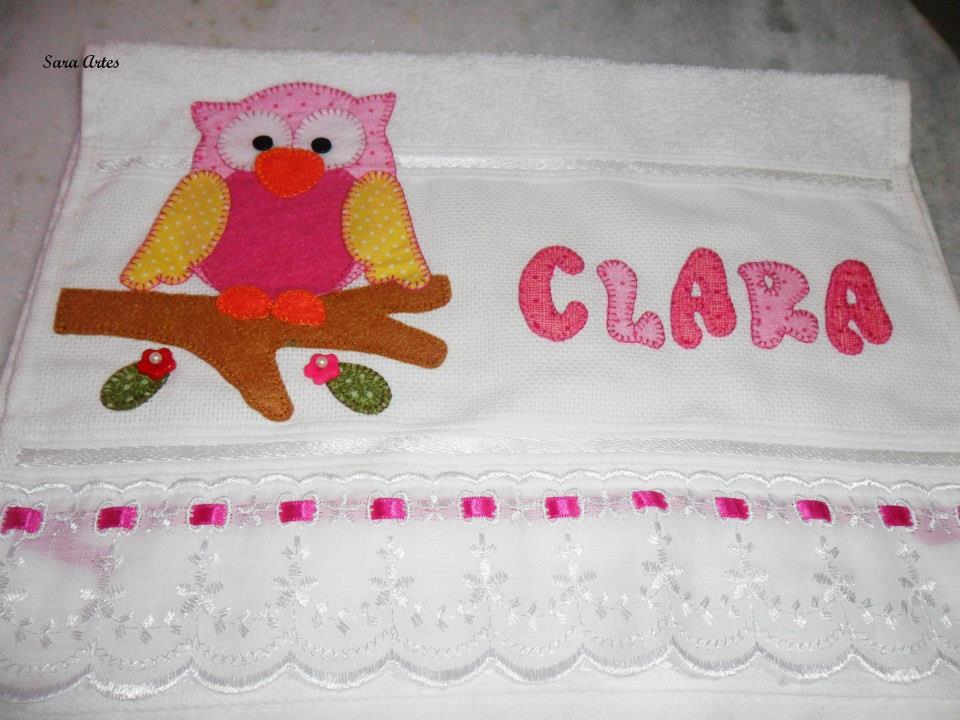toalha com patchaplique de coruja