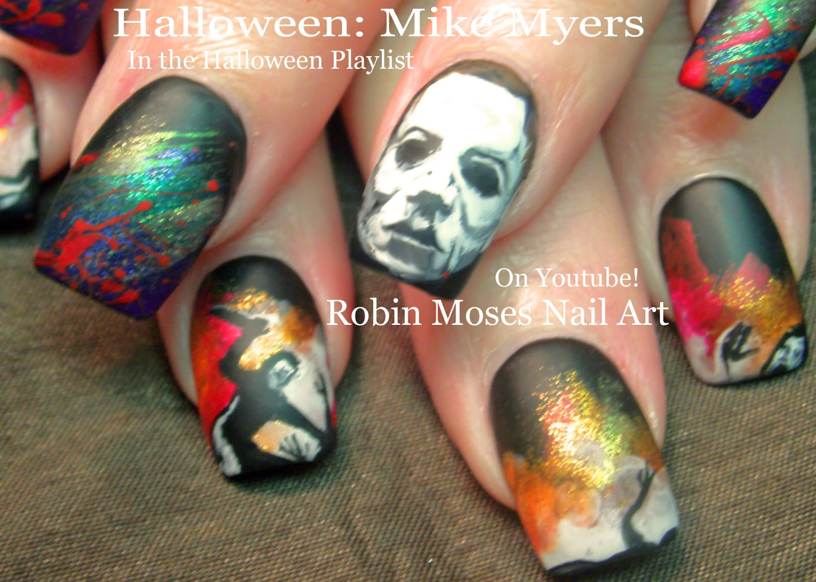 Robin moses nail art halloween mike myers nail art horror film halloween mike myers nail art horror film nails and scary movie nails that will get your hands grabbed prinsesfo Gallery