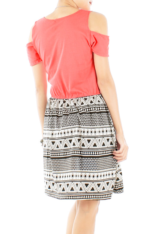 Coral Peekaboo Shoulder Aztec Print Skirt Dress