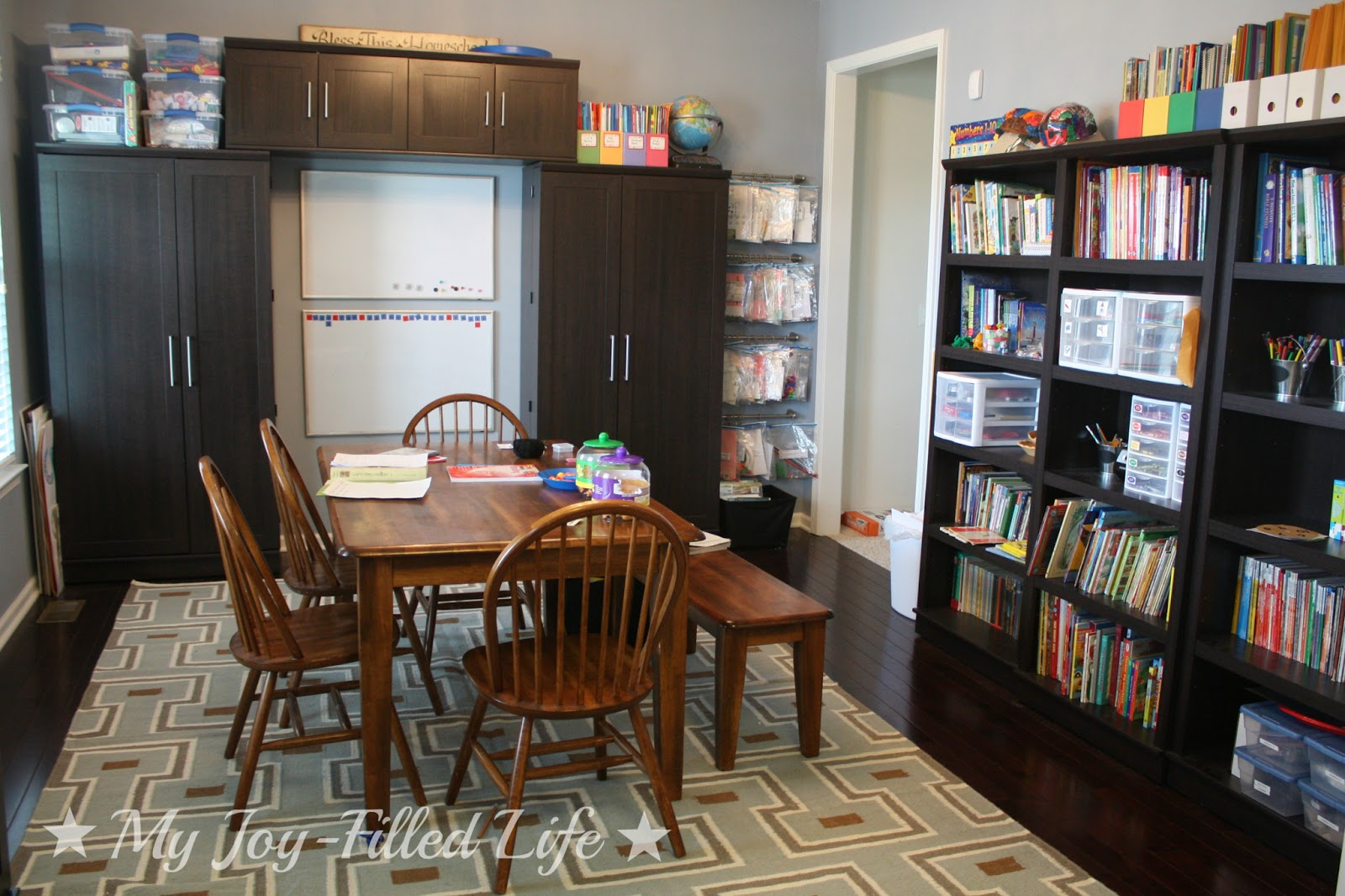 Our homeschool room reveal finally my joy filled life for Homeschool dining room ideas
