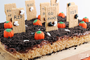 Get the recipe for these Haunted Graveyard Rice Krispies Treats...