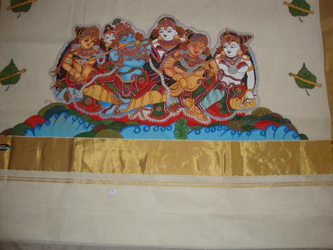 Buy online kerala mural painted kasavu sarees kerala for Buy mural paintings