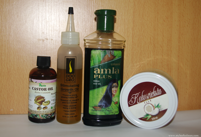 Hair oils used daily and weekly, castor oil, doogroo stimulating oil, amla oil, coconut oil