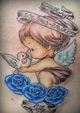 tatuagens de anjos com nomes de filhos e filhas