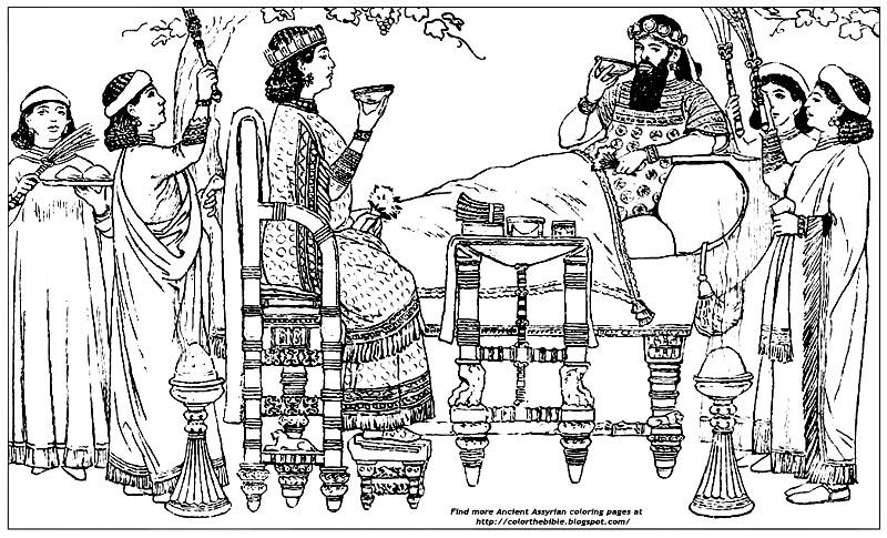 Color This Assyrian King and Queen