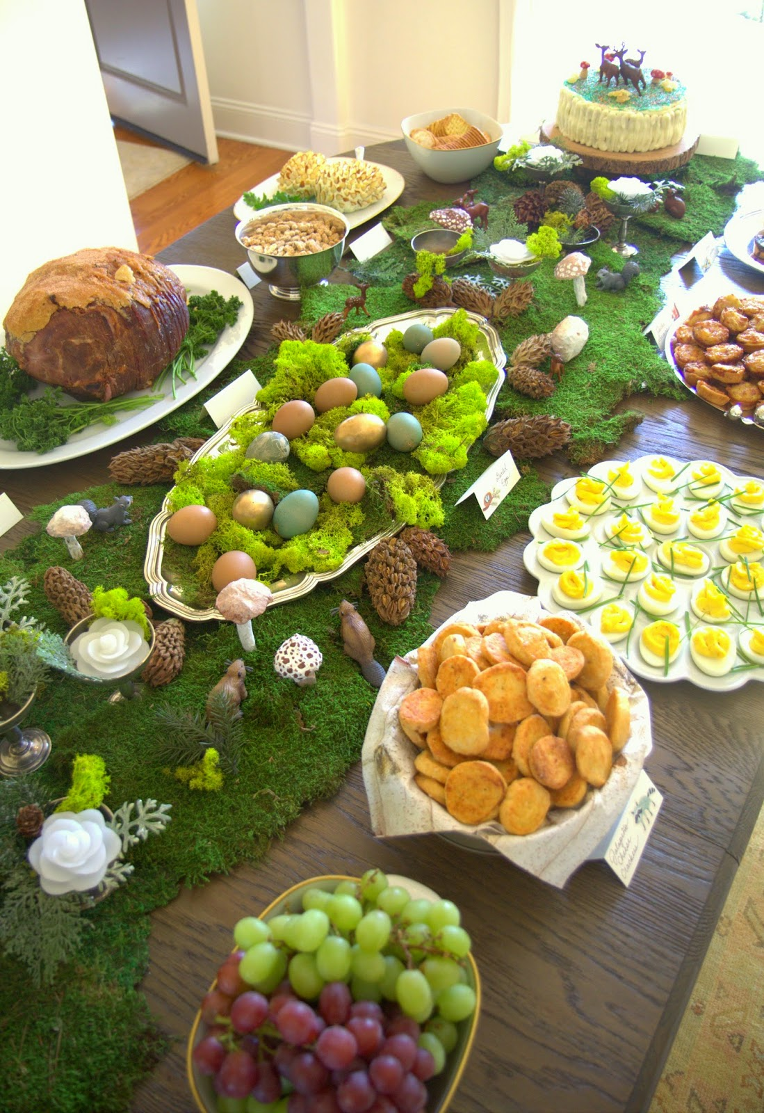 Woodland Party; Dining Room Table, moss runner, party food: Nora's Nest