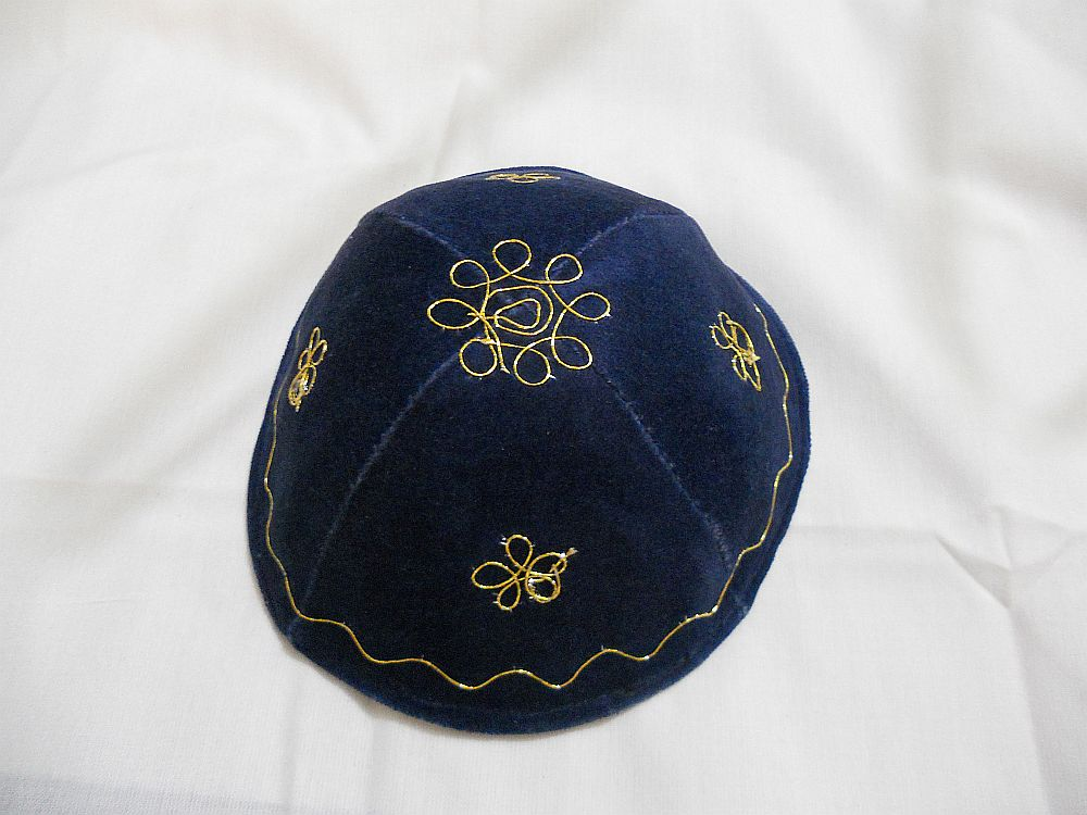 KIPPAH Terciopelo Azul Filigree Dorado