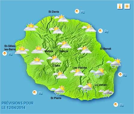 Prévisions météo Réunion pour le Samedi 12/04/14