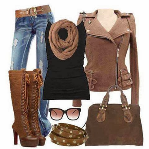 Brown scarf, jeans, brown trench coat, black blouse, extra long boots and handbag for fall