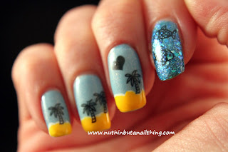 beach nails transfer tattoo decal