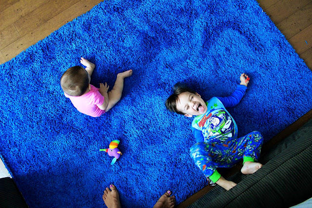 Amazing Henry Is Apparently A Fan Of Bright Blue Rugs (who Knew?), He