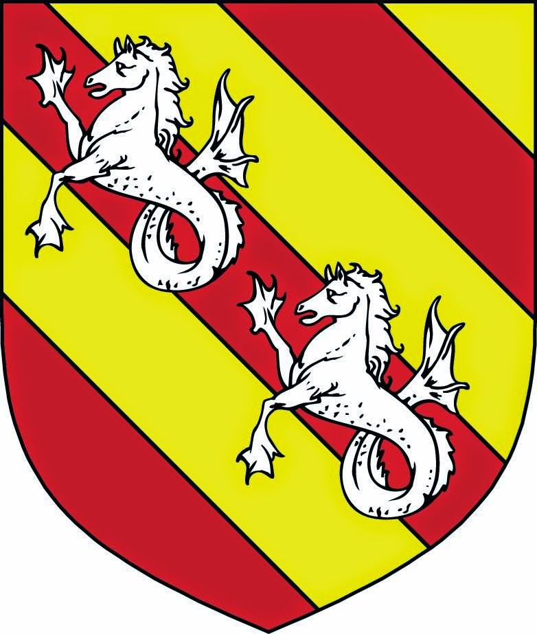 Bendy Or and gules, in bend two seahorses argent
