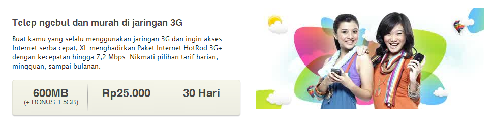 Paket Internet Murah XL HotRod 3G+