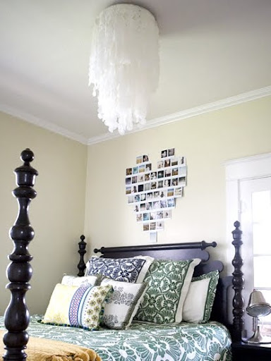 faux capiz chandelier in bedroom