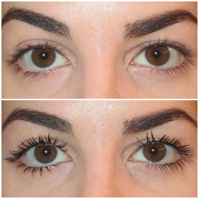 a picture of L'Oreal Volumimous Miss Manga Rock Mascara (before & after)