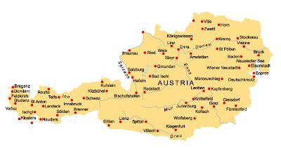 Mappa di Austria Regionale Geografia