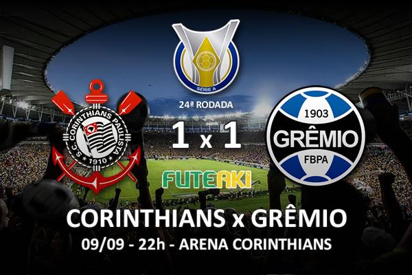 Veja o resumo da partida com os gols e os melhores momentos de Corinthians 1x1 Grêmio pela 24ª rodada do Brasileirão 2015.