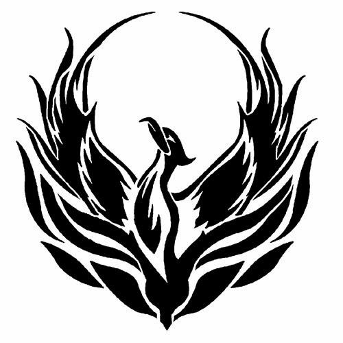 Phoenix tattoo stencil