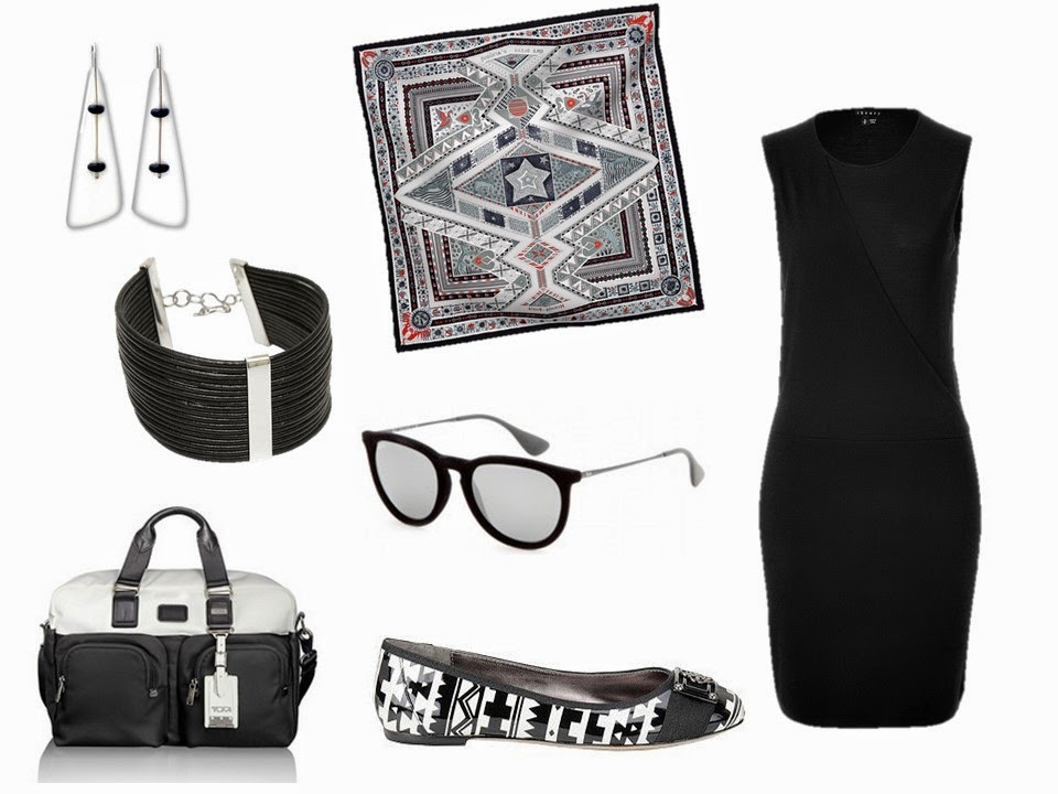 Hermes Ors Bleus d'Afrique with a black dress and related accessories
